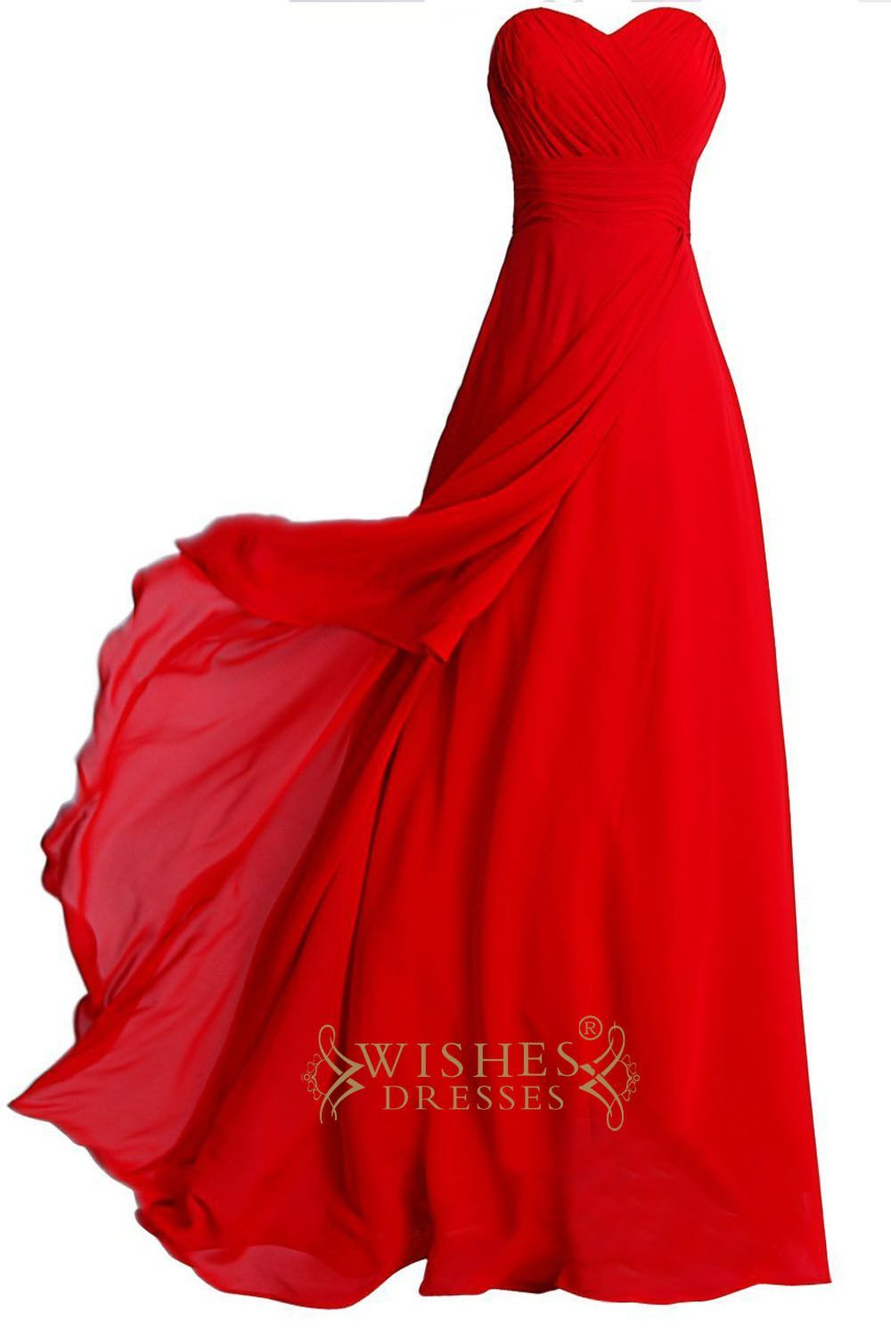 Aline red simple bridesmaid dresses with ruching bodice formal gown