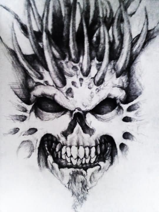 Attractive Skull And Demon Tattoos Design Attractivetattoos