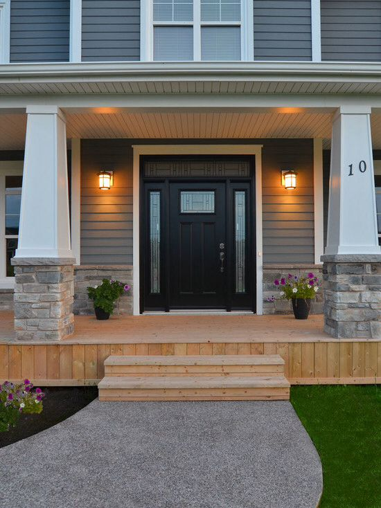 Black Front Door With Sidelights And Transom Craftsman Front Doors Black Front Doors House Paint Exterior