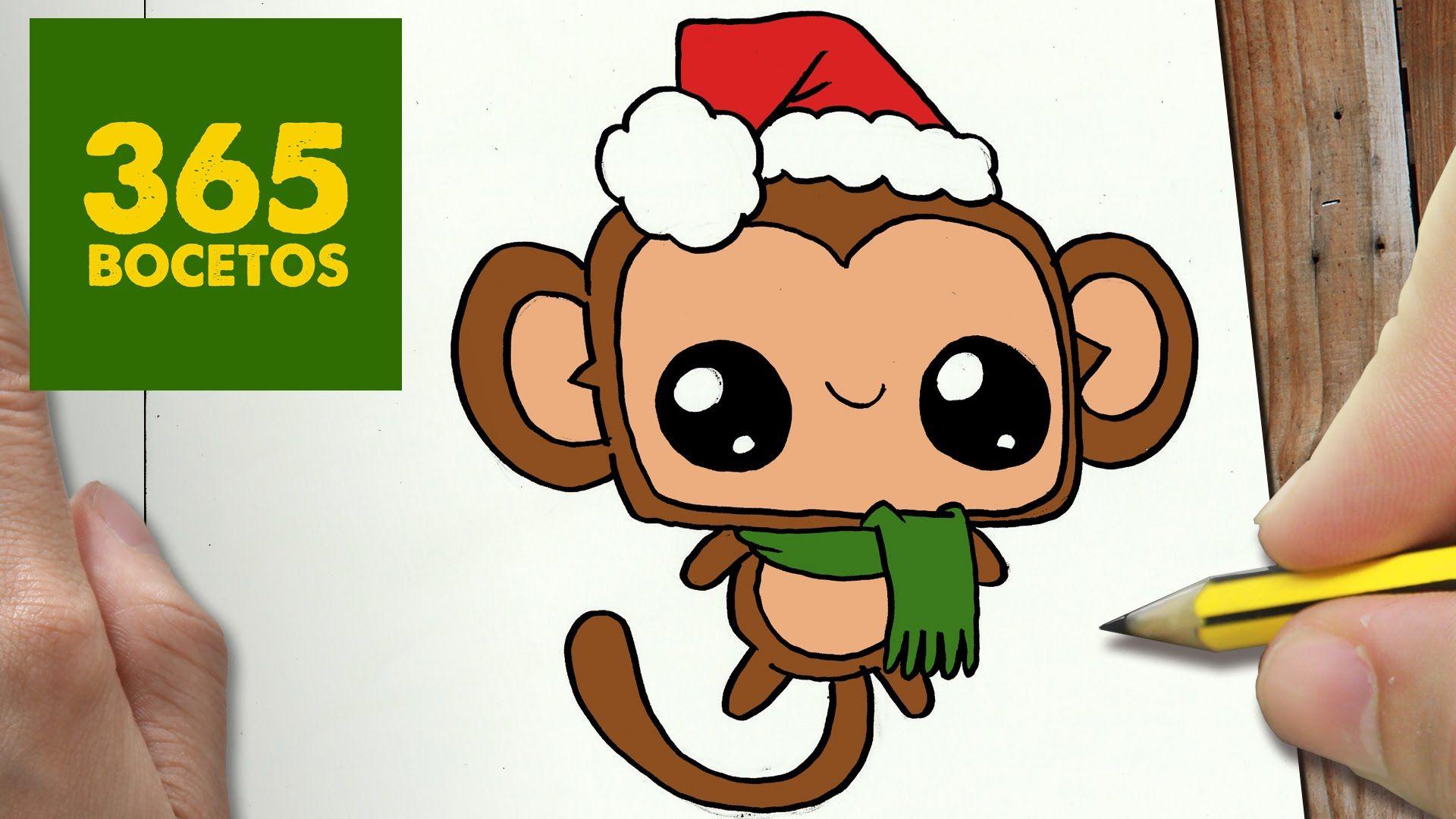 Como Dibujar Un Mono Para Navidad Paso A Paso Dibujos Kawaii