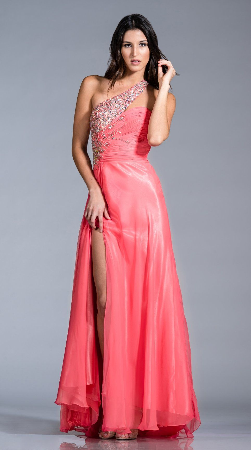 Rhinestone Shoulder Strap Coral Dress Long Chiffon Elegant Gown ...