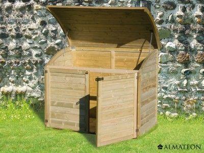 Coffre en pin à double ouverture Capacité  900 litres Modèle - lasure pour bois exterieur