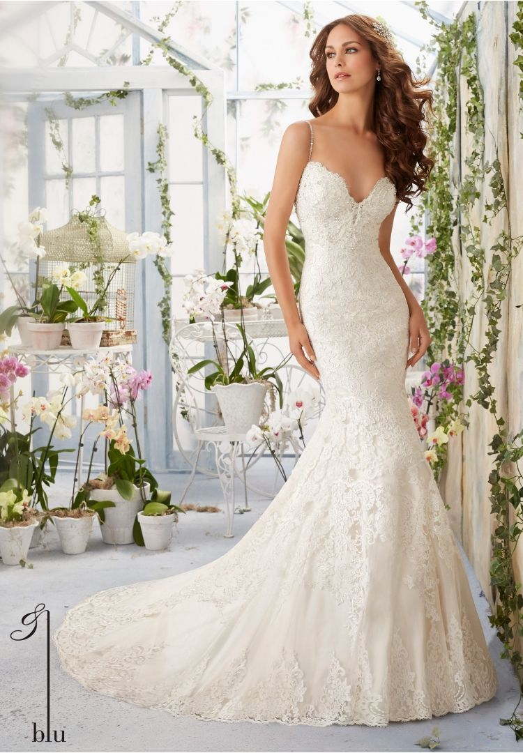 Wedding Gowns By Blu featuring Scalloped Alencon Lace Edging ...