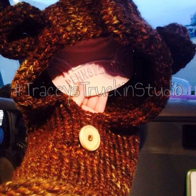 Cute bear hooded cowl I loom knitted. Child size.  Follow my facebook page to see my latest creations or to order. https://www.facebook.com/pages/Sassy-Ewe-Productions-2/203425073191369