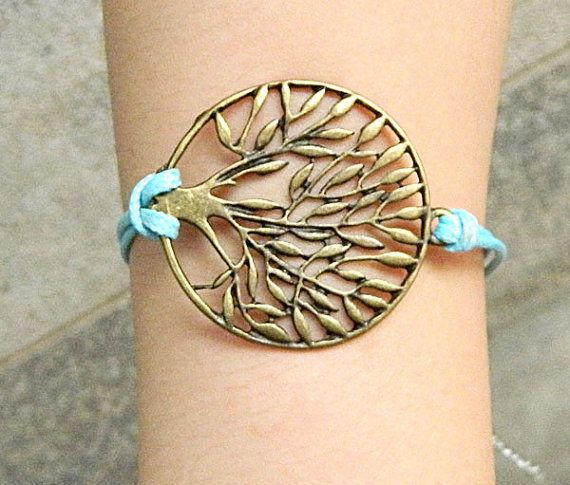 Ancient bronze tree bracelet --Unisex Simple fashion Ancient bronze tree blue wax rope adjustable braided leather bracelet Z13