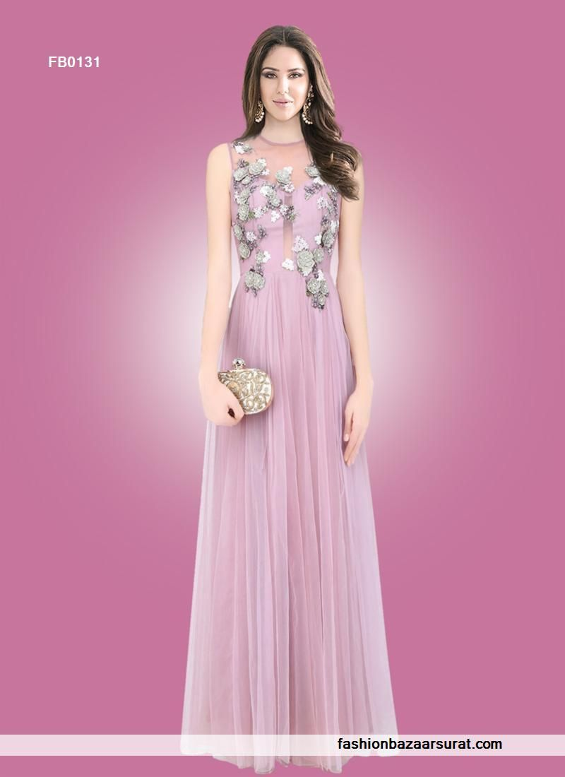 buy Perfect Pink Embroidered Work Designer Gown online, buy Gown ...