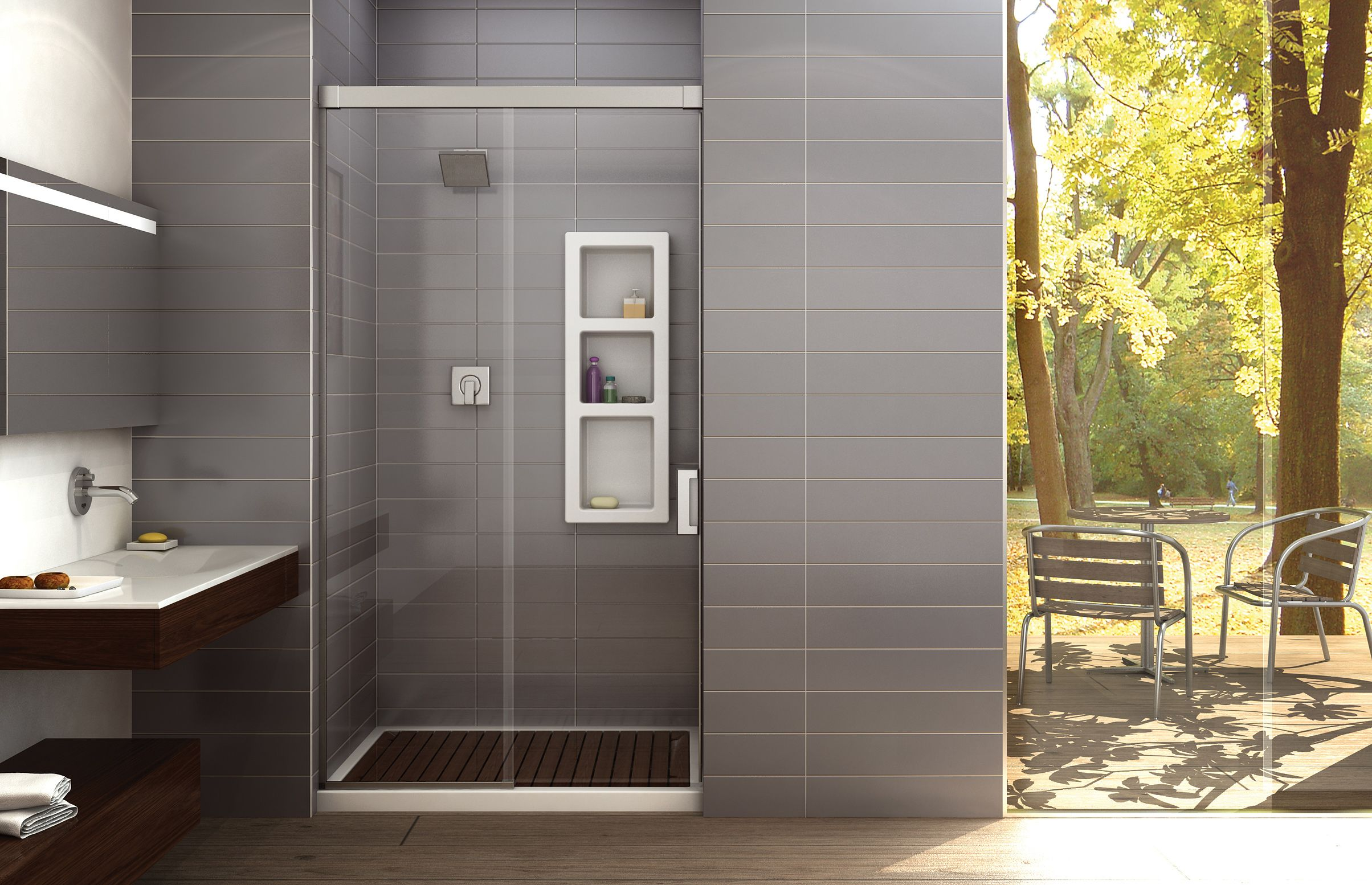 Nuevo 4836 a alcove or glass enclosures shower maax for Bathroom alcove ideas