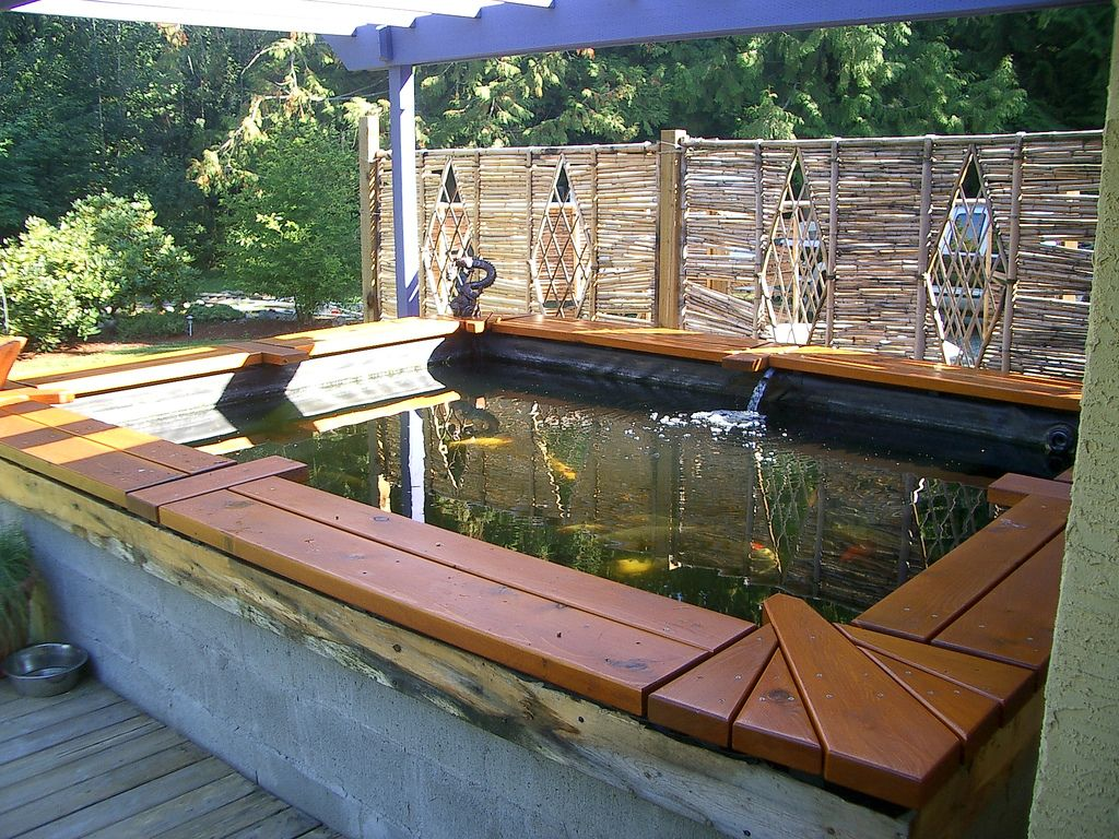 Koi pond bench koi ponds pinterest koi pond design for Raised fish pond designs