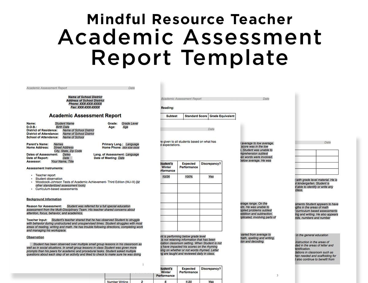 Special Education Academic Assessment Report Template | MRT