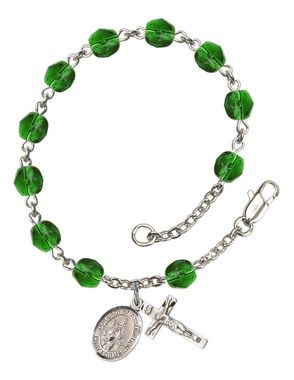Our Lady of Assumption Silver-Plated Rosary Bracelet with 6mm Emerald Fire Polished beads