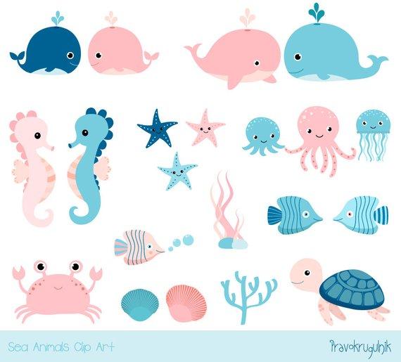 Cute Sea Animal Clipart Kawaii Ocean Clipart Baby Girl Under Sea Clipart Blue Seahorse Whale Turtle Octopus Jellyfish Pink Crab Fish Sea Animal Baby Shower Sea Clipart Sea Creatures Baby Shower