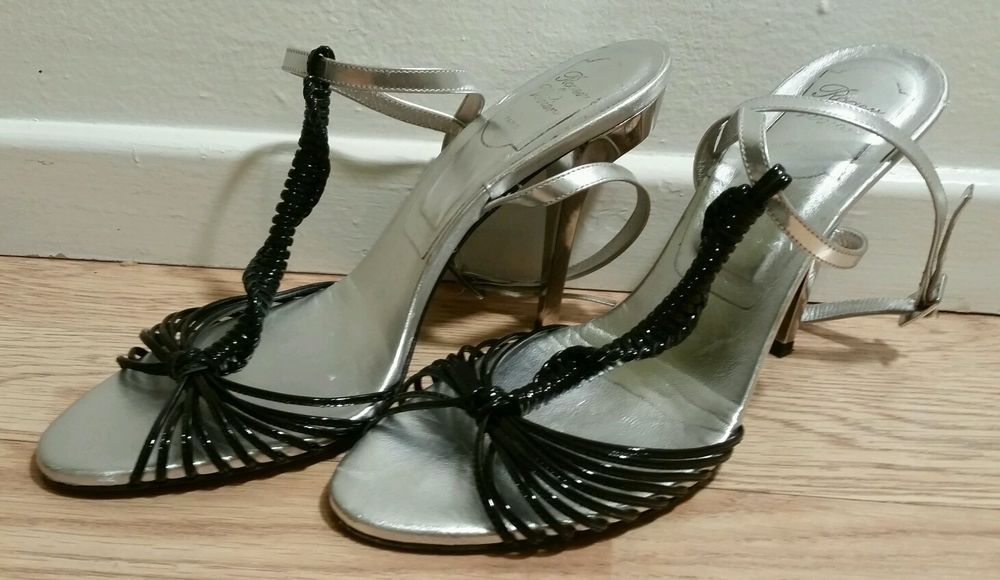 f9be0d74ab7 Authentic Roger Vivier Silver Black Sandal Heels US 8.5 Royal Women s Shoes   RogerVivier  Strappy