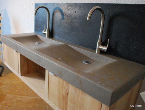 Waschtischplatte stein  DOPPELWASCHTISCH NATURSTEIN WASCHTISCH MARMOR GRANIT WASCHBECKEN ...