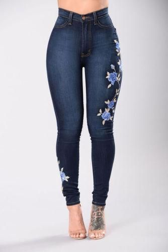 Womens Ladies Blue Floral Embroidered Skinny High Waist Ripped Jeans