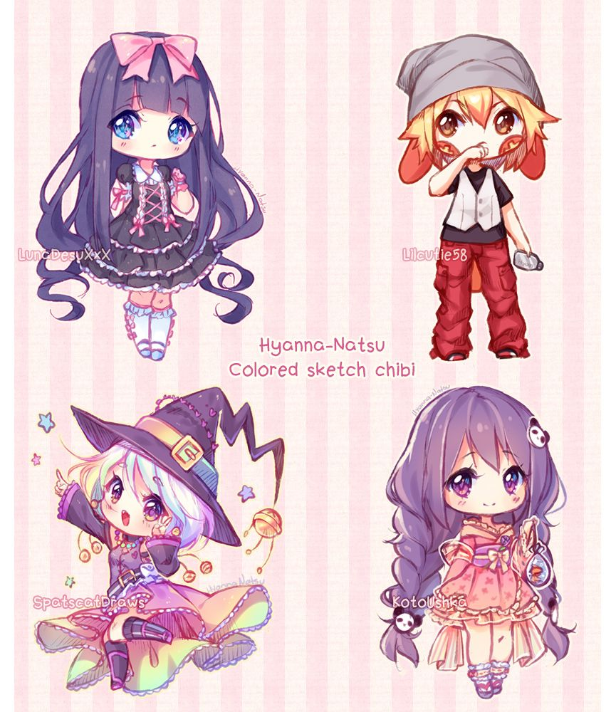 Commission Sketch Chibis By Hyanna Natsu Cute Anime Chibi Kawaii Chibi Chibi Drawings
