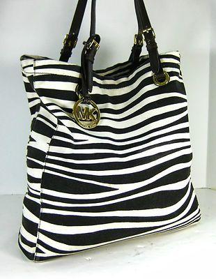 970f6272e3f7 MICHAEL KORS Authentic Zebra Animal Print Leather Trim Canvas Tote Shoulder  Bag :) <3