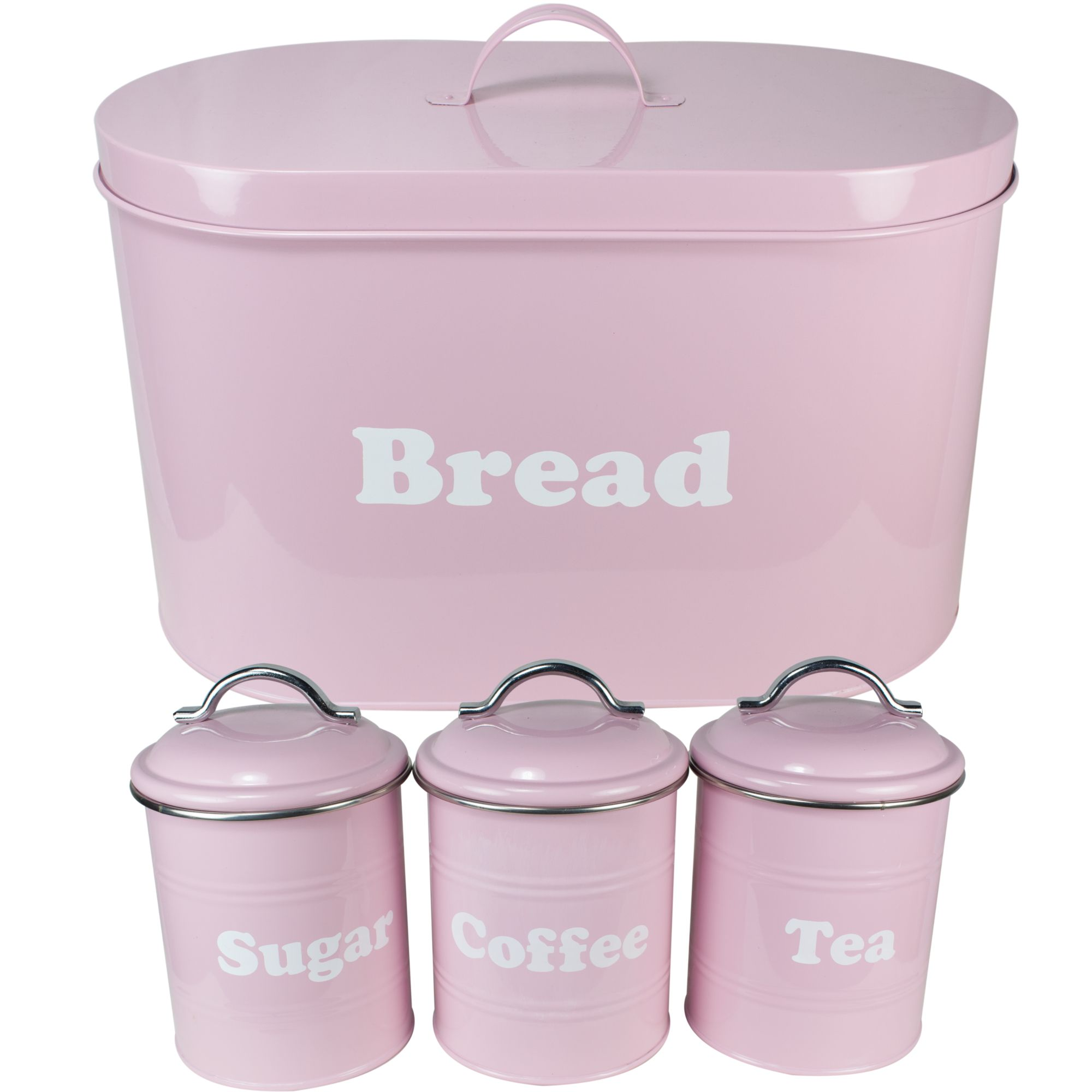 Pink Vintage Bread Bin Tea Coffee Sugar Set Canister Canisters Kitchen