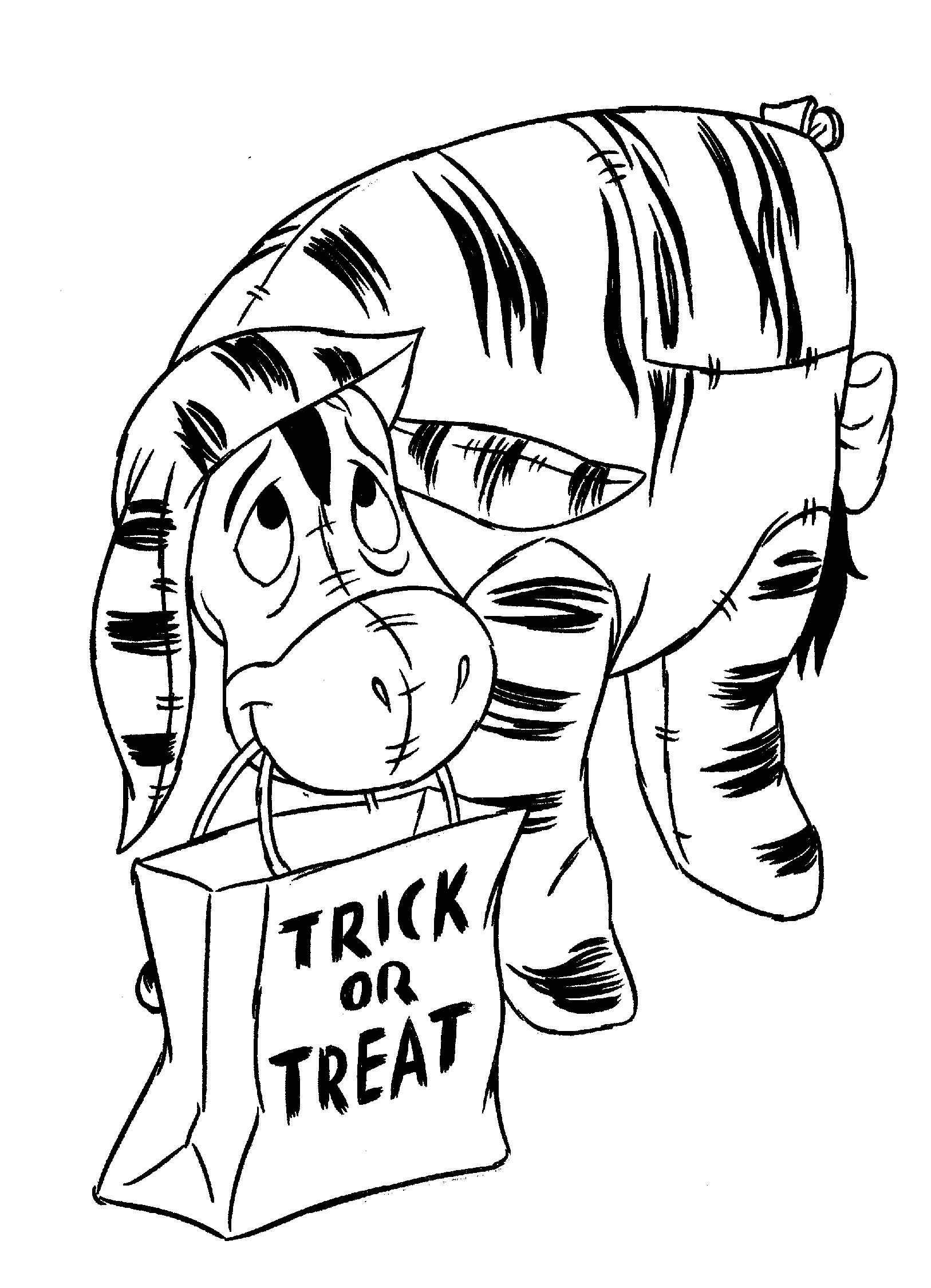 Coloring page halloween winnie de pooh and eeyore megus color