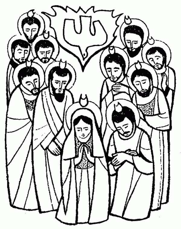 Pentecost, : The Apostles is Pray for Holy Spirit in