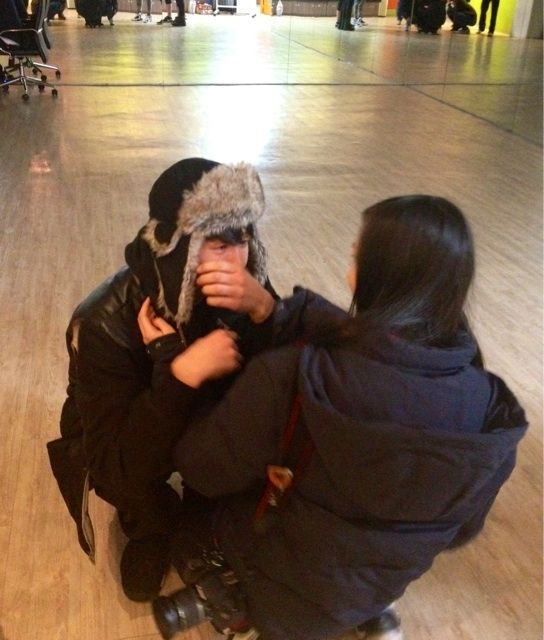 Ravi & his young sister @ the airport  He's crying because