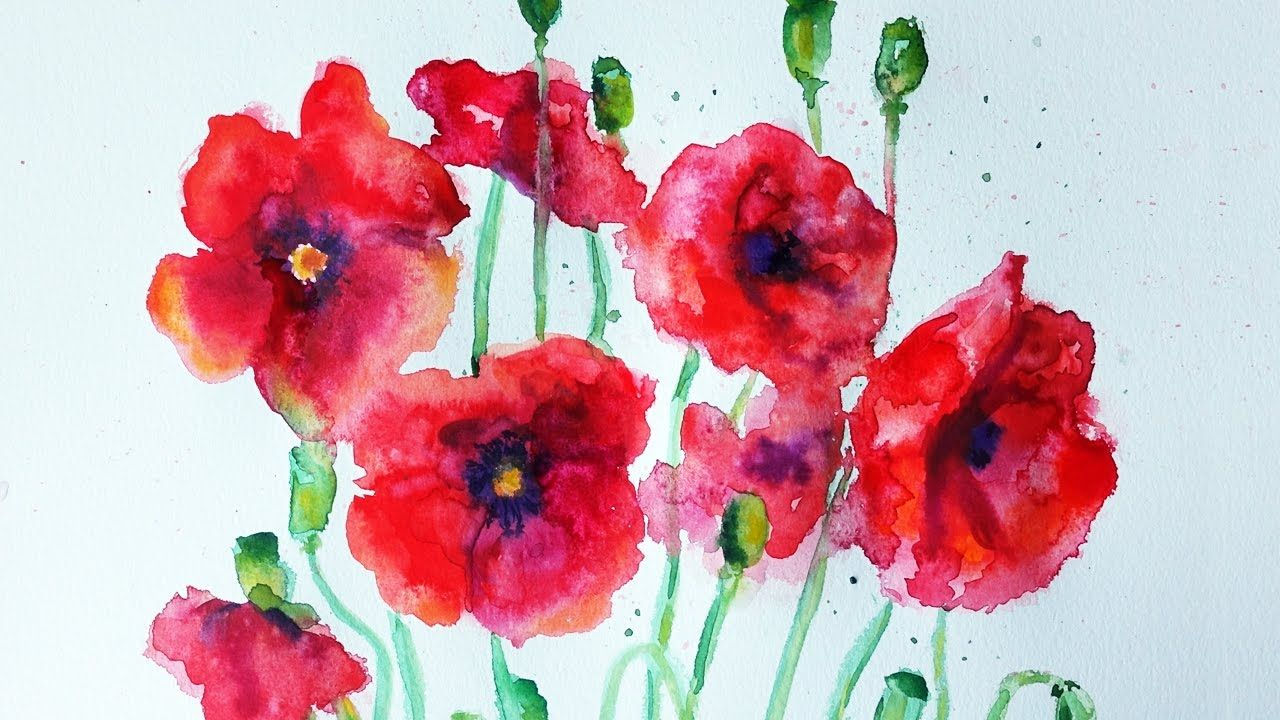 Watercolor Poppies Tutorial Speed Painting Mit Bildern