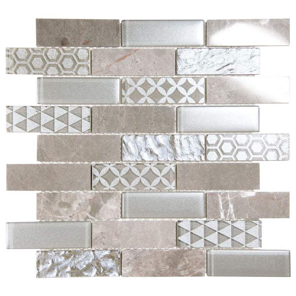 Core Silver Geometric Metallic Glass Tile Tile Around Fireplace