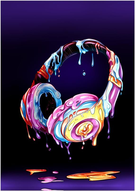 Cool Headphones Music Dripping Paint Contemporary Modern Home Decor Wall Art Paper Poster Or Framed Canvas Picture
