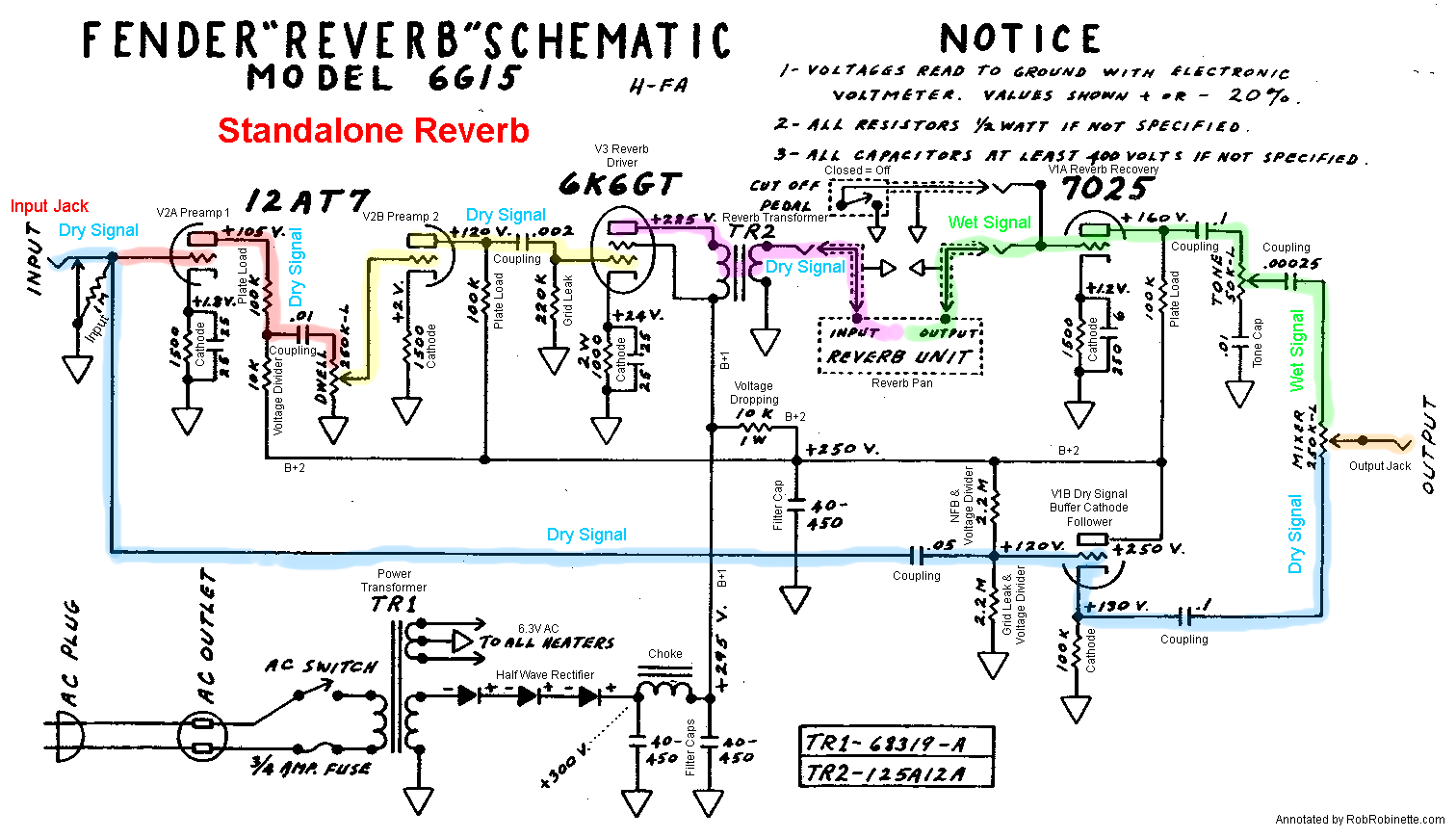 fender 6g15 tube reverb unit schematic with signal flow by robrobinette com [ 1512 x 870 Pixel ]