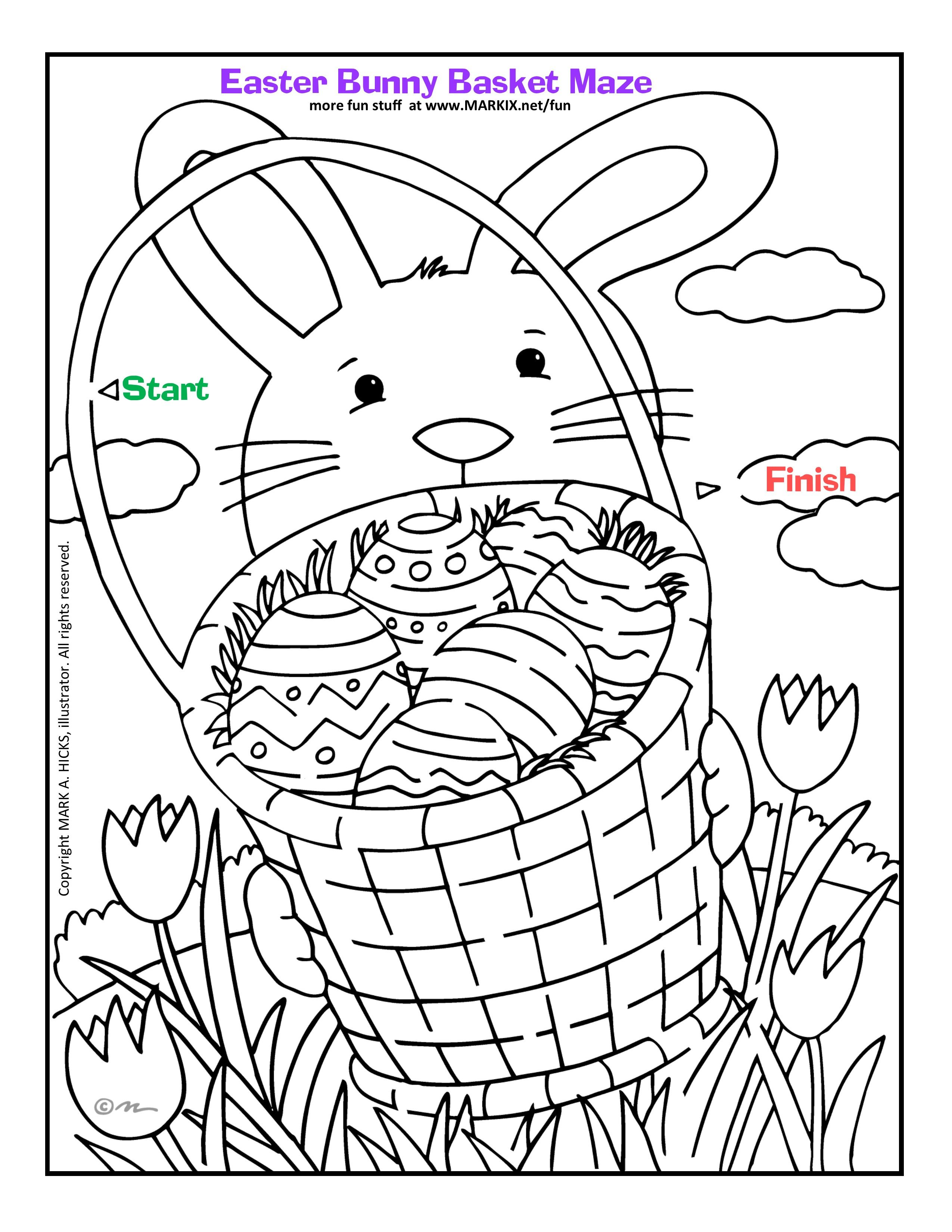 Easter Bunny Basket Maze Can you find your way through this Easter ...