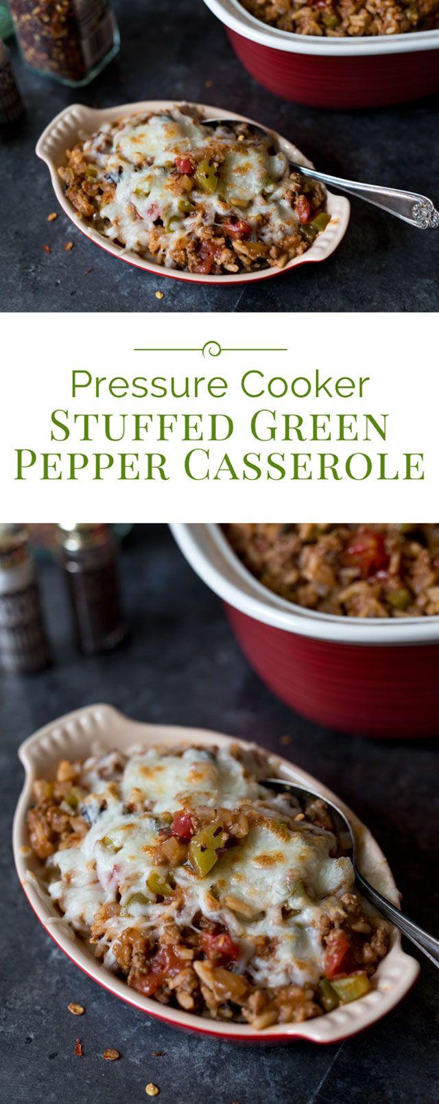 Pressure Cooker (Instant Pot) Stuffed Green Pepper Casserole