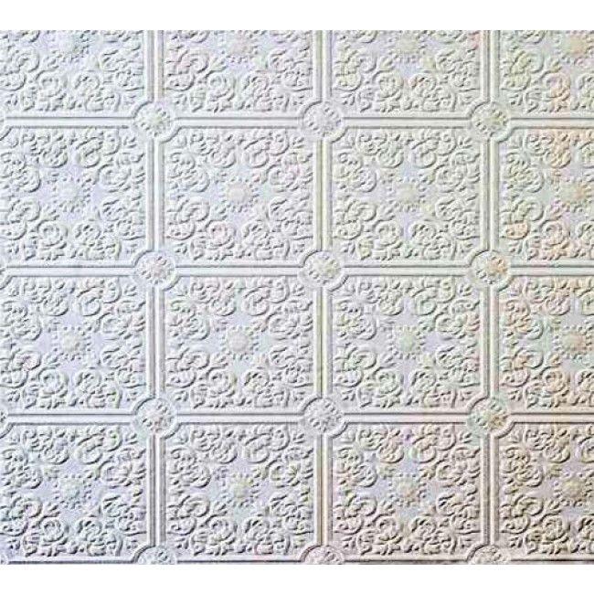 Small Ceiling Tile Raised White Textured Paintable Wallpaper
