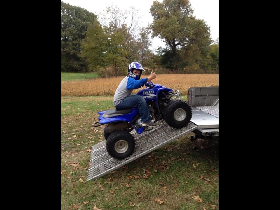 My 10 Year Old Grandson Loading His Four Wheeler All By Himself With His Atv Ramp From Invisiramp Com Atv Four Wheelers Monster Trucks