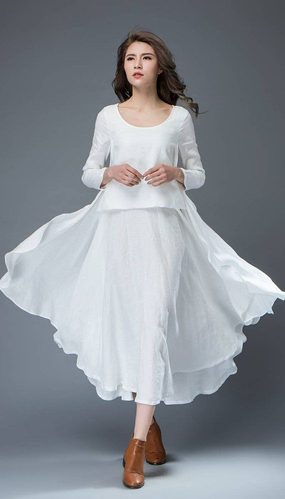White Linen Dress Layered Flowing Elegant Long Sleeve By Yl1dress