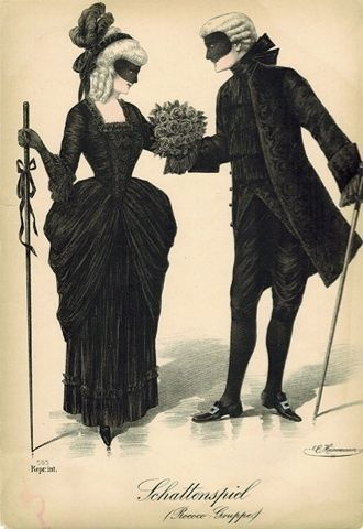 18thcenturyfop: Antique Fashion Plate Print Masquerade Costume Party Ball Masked Couple