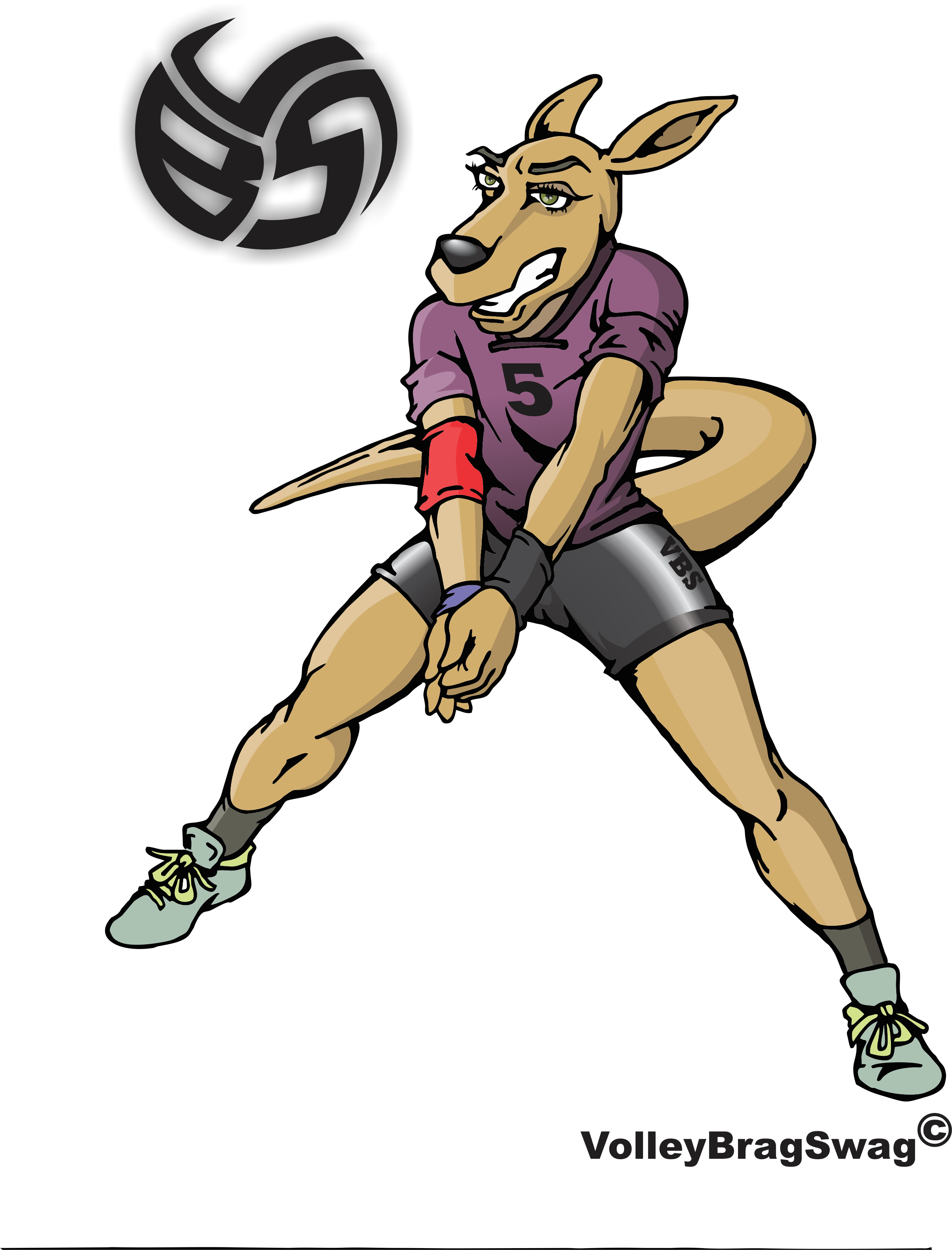 Rese The Kangaroo Demonstrates Her Indoor Volleyball Forearm Pass Technique Volleyball T Shirt Designs Volleyball Designs Volleyball