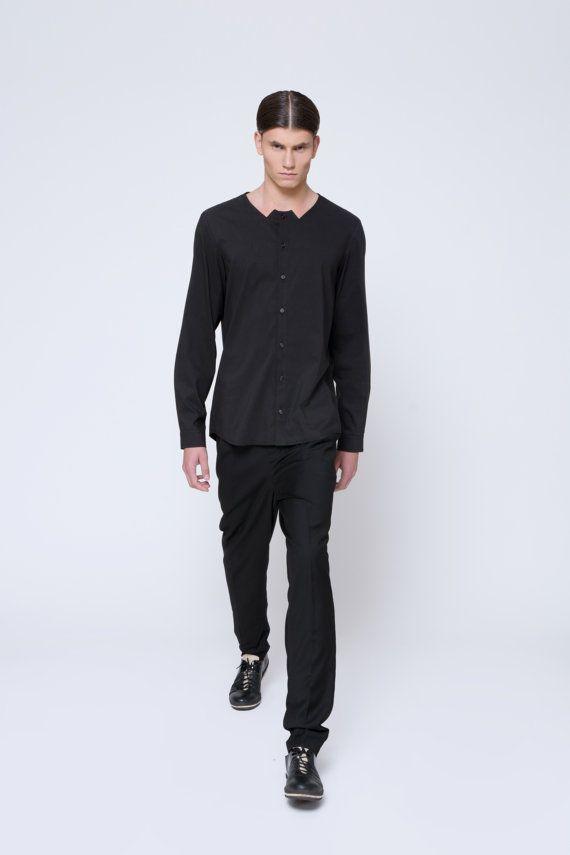 Mens camicia Mens nero camicia abito camicia di EliranNargassi