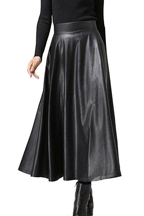 Women Leather Skirt High Waist Skater Flared Pleated Swing  Black Dress UK