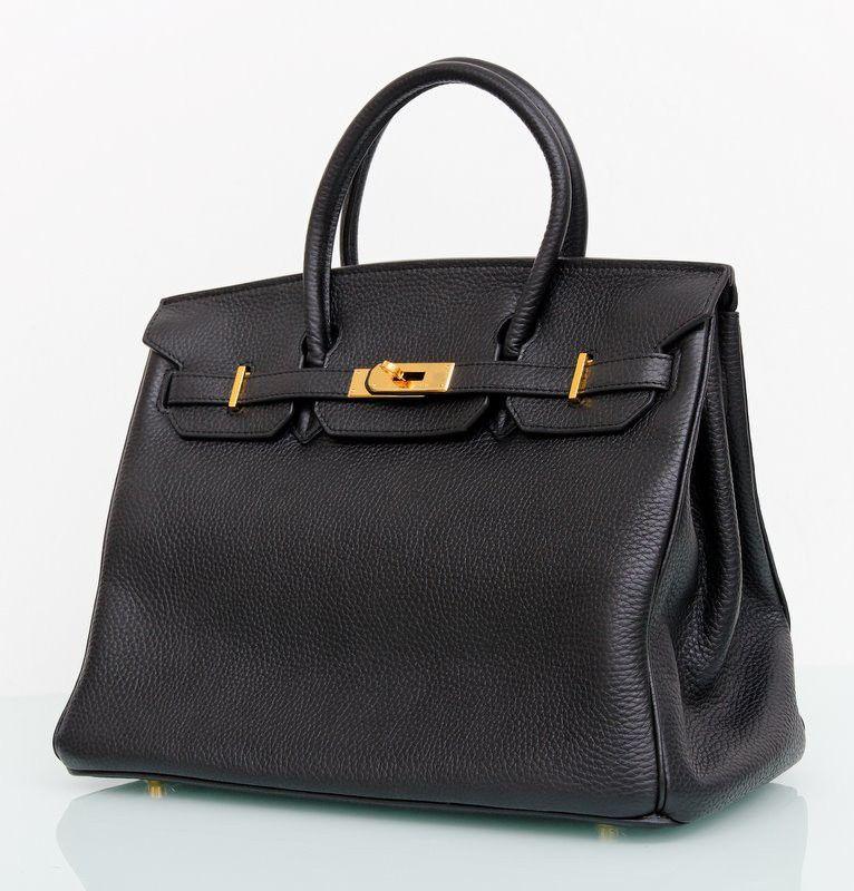 Кожаная сумка Hermes Birkin 35 см черного цвета