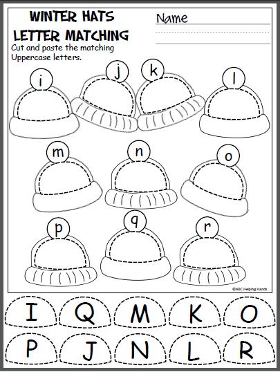 winter hats cut and paste i r k december preschool kindergarten preschool literacy. Black Bedroom Furniture Sets. Home Design Ideas