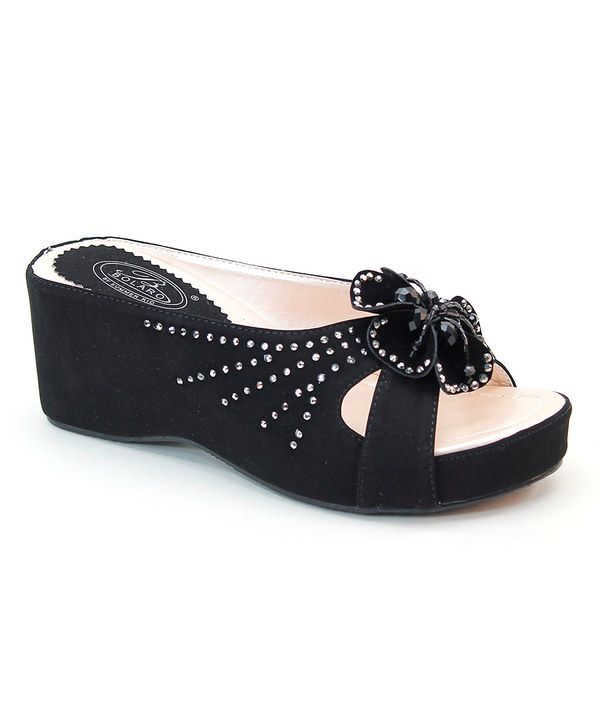 Look at this Bolaro Black Rhinestone Flower Sandal on #zulily today!