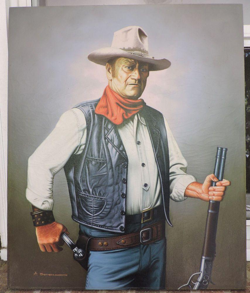 Vintage Oil Portrait Cowboy John Wayne Portrait Painting