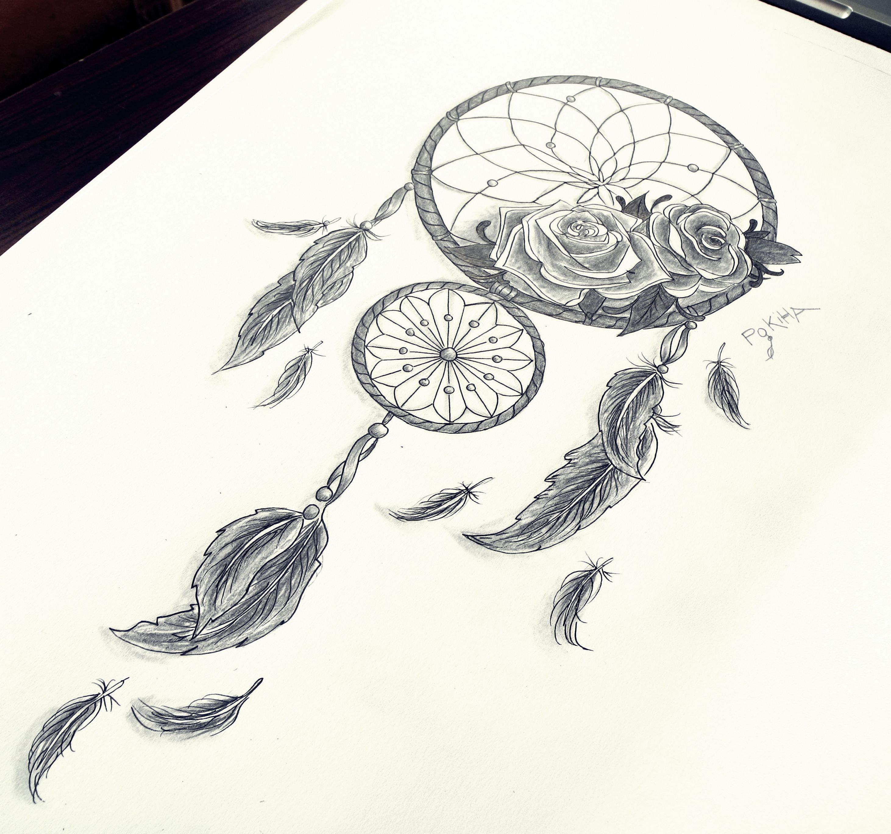 Dreamcatcher roses feathers by pokiha drawings for Dream catcher tattoo template