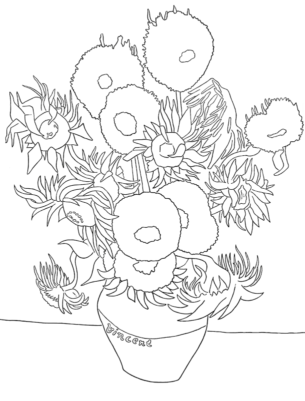 Free Printable Colouring Page Of Van Gogh S Sunflowers Masterpiece Van Gogh Coloring Sunflower Coloring Pages Van Gogh Drawings