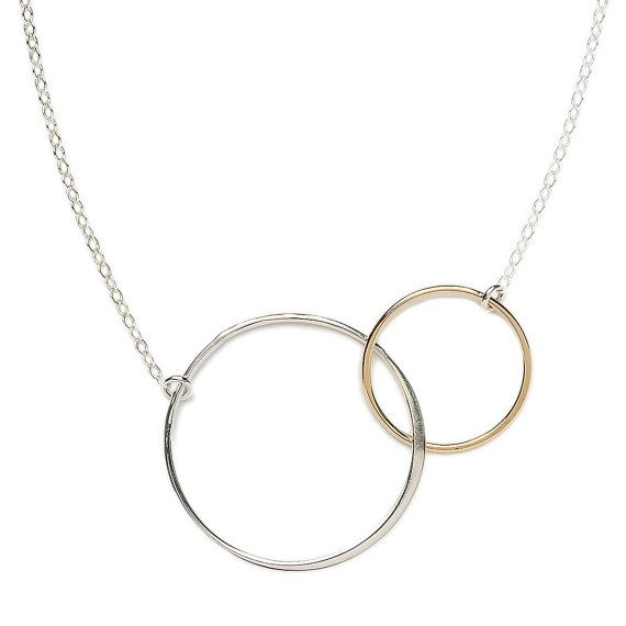 Linked Circle Necklace  Gold and Sterling by LilaClareJewelry