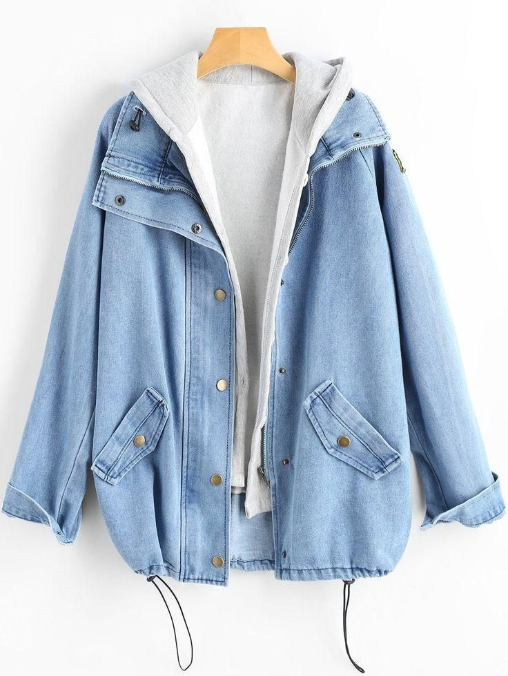Make the best through the autumn and winter with the new Glory & Co. Denim Jacket (2 Pieces) for Women. Jacket made of denim and polyester, full regular sleeve and loose (Plus size, Oversize). Hoodie made of spandex and cotton, regular sleeve, hooded and coming in solid patterns.
