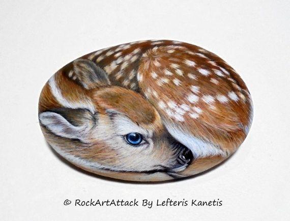 Hand Painted Rock With Deer-Fawn ! Animal painting.Rock painting animals. #Stoneart. #Rockart. #Animalart. #Paintedstones #Pebbleart #RockArtAttack by Lefteris Kanetis