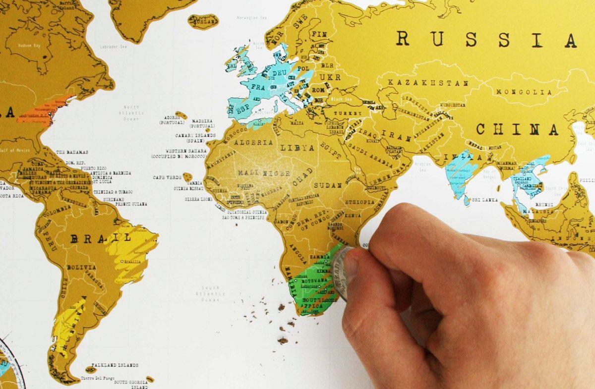Mapa Para Rascar Los Paises Que Has Visitado Mapamundi Regalos