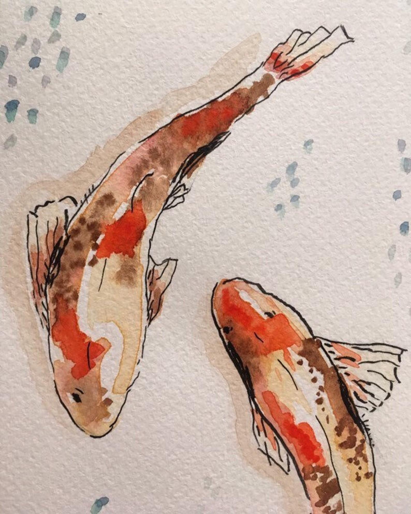 Koi fish painting, watercolor koi fish, not a prin
