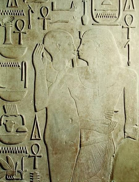 """grandegyptianmuseum: """" Senusret I, Sesostris I (r. 1971-1926 BC), being embraced by the God Ptah, relief from the Temple of Amun, Karnak. 12th Dynasty, Middle Kingdom. Now at the Egyptian Museum,..."""
