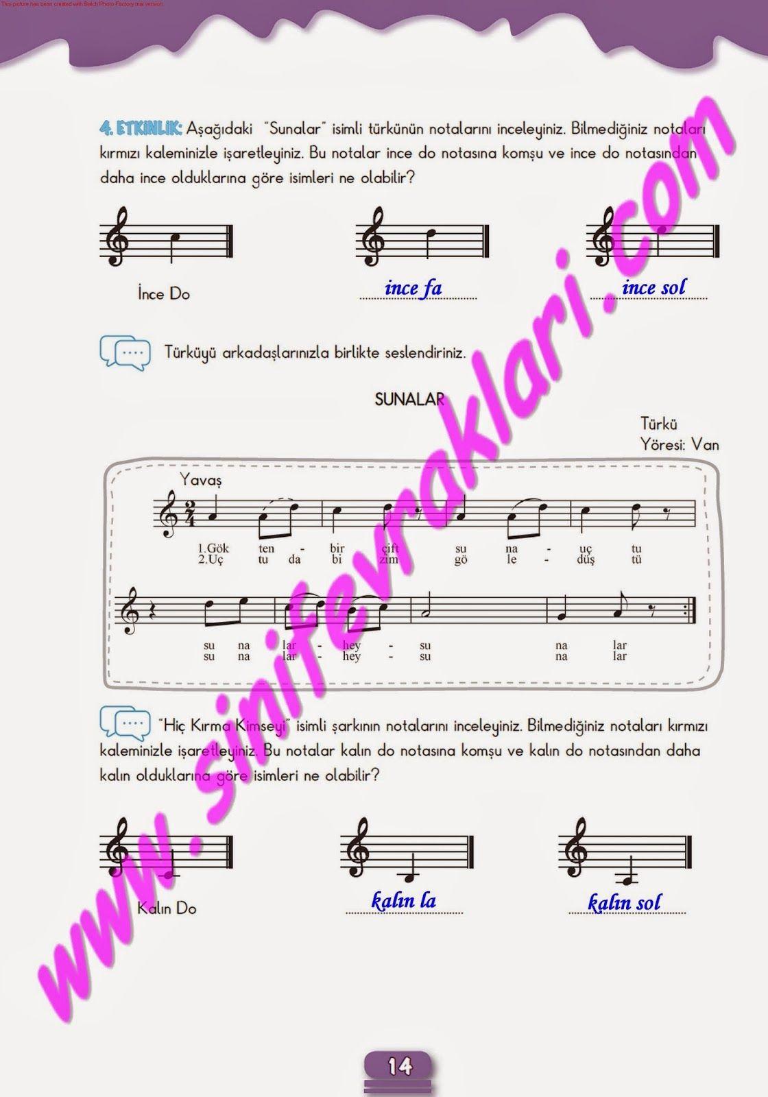7sınıf Müzik çalışma Kitabı Cevapları Meb Yayınları Sayfa 14 7
